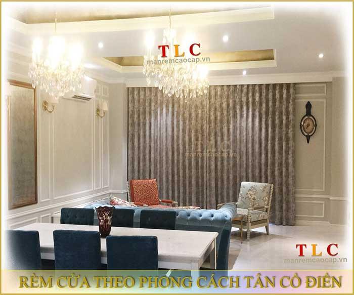 Rèm cửa theo phong cách tân cổ điển - rèm phòng khách bán cổ điển